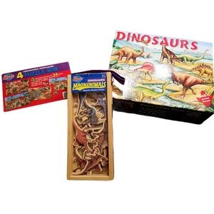 Dinosaur puzzle and magnet lot